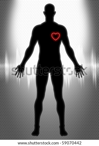 Silhouette of man figure with heart symbol