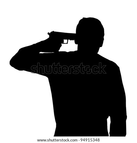 Silhouette of man holding gun against own head