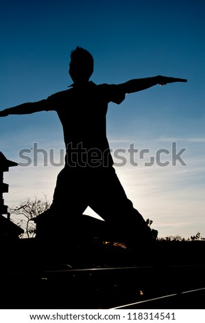 silhouette of man jumping for happy