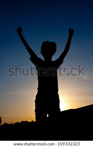 silhouette of man jumping for victory