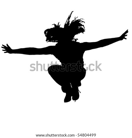 Silhouette of Man jumping with Clipping Path