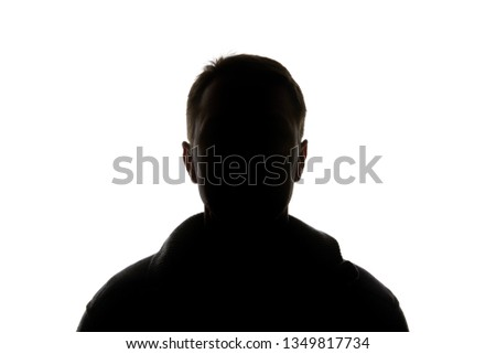 Silhouette of man looking at camera isolated on white #1349817734