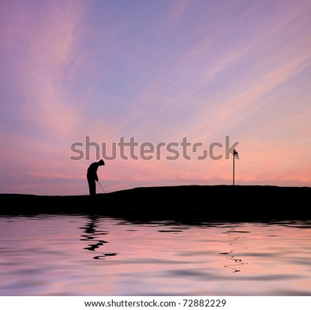Silhouette of man playing golf on beautiful colorful sunset