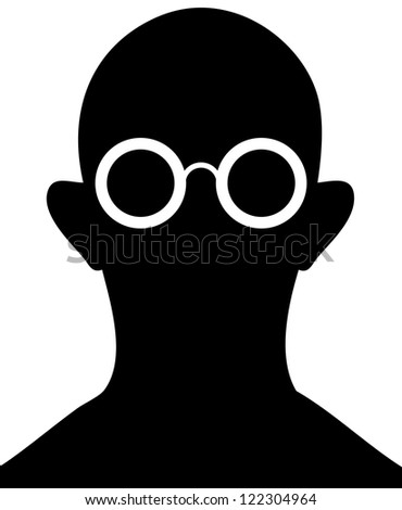 Silhouette of man with glasses on a white background - a simple drawing