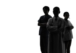 Silhouette of Medical doctor and nurses.