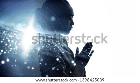 Silhouette of meditating woman. Mindfulness concept. #1398425039