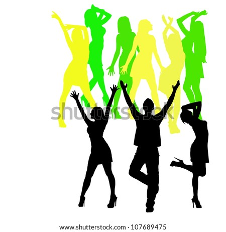 Silhouette of men and women dancing at a disco.White background