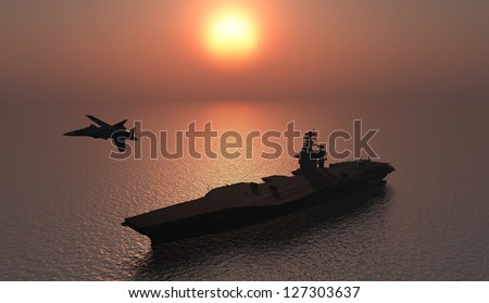 Silhouette of military aircraft and spacecraft.