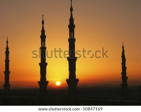 Silhouette of minarets of Masjid Al Nabawi or Nabawi Mosque (Mosque of the Prophet) in Medina (City of Lights), Saudi Arabia. Nabawi mosque is Islam's second holiest mosque after Haram Mosque.