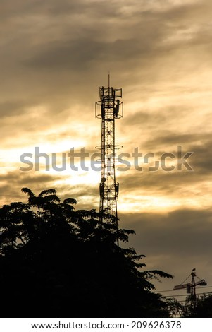Silhouette of Mobile Telephone  Antenna.