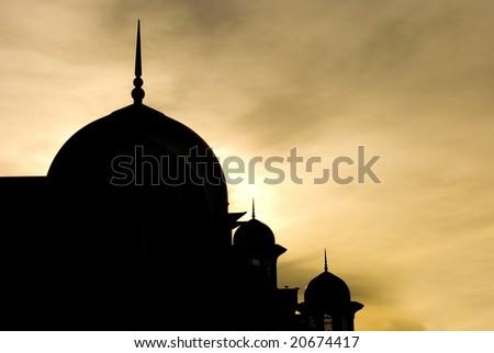 silhouette of mosque in putrajaya, malaysia