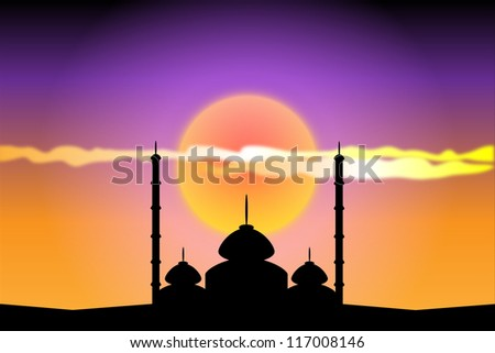 Silhouette of mosques at sunset, illustration