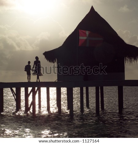 Silhouette of Mother and Daughter at Moorea in Tahiti