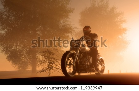 Silhouette of motorcyclist in sunlight.