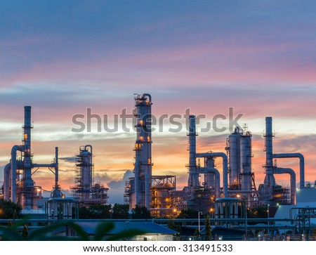 Silhouette of Oil and gas refinery at twilight #313491533