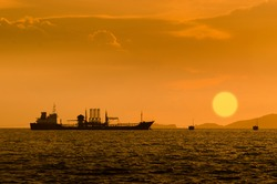Silhouette of Oil exploration vessel