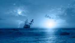 Silhouette of old ship in a stormy sea,  amazing lightning in the background