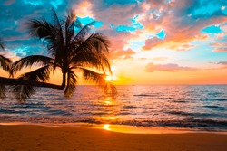 Silhouette of palm trees Beautiful sunset on the tropical sea beach background for travel in holiday relax time,