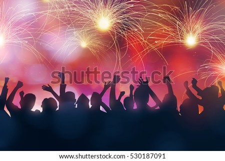 Silhouette of party people celebrate new year eve #530187091