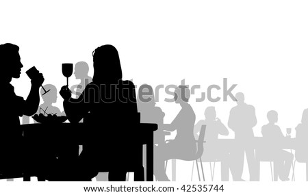 Silhouette of people eating in a restaurant