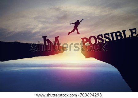 Silhouette of people jumping from cliff to other bank and stone, concept as possible and impossible of success in business and leadership