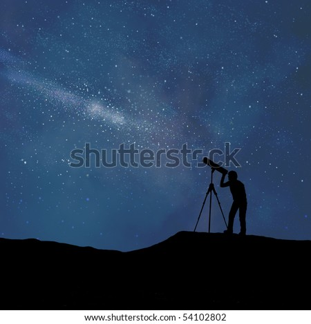 Silhouette of person looking at a stylized digitally created night sky through a stylized digitally created telescope #54102802