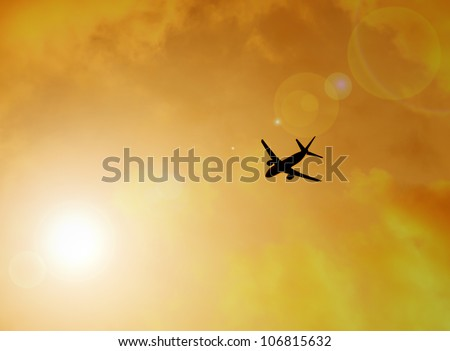 silhouette of plane, flying to freedom concept - stock photo