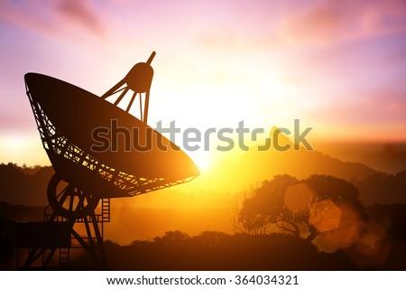 Silhouette of satellite dish