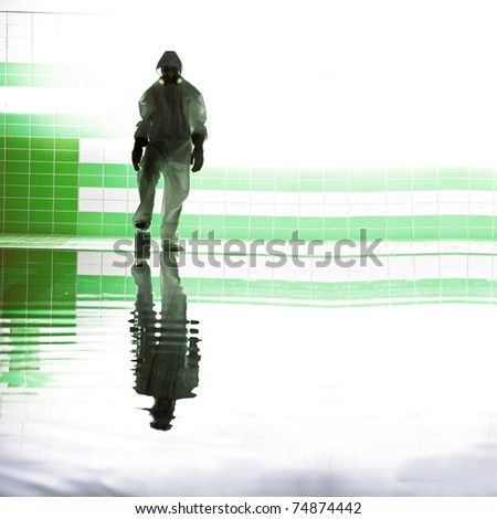 silhouette of scientist on water in suit isolated white background