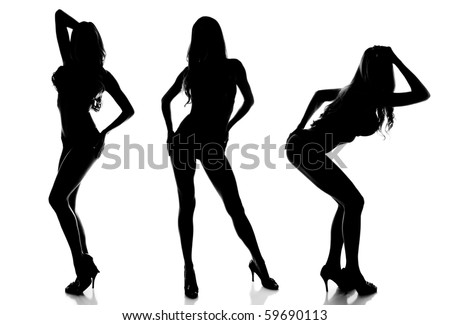 Silhouette of 3 Sexy Women Modeling
