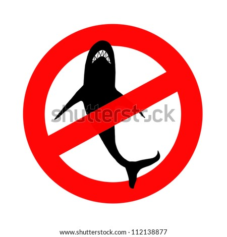 Silhouette of shark in red circle, illustration