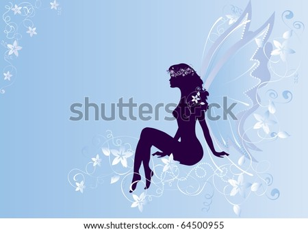 silhouette of sitting angel on a blue background - stock photo
