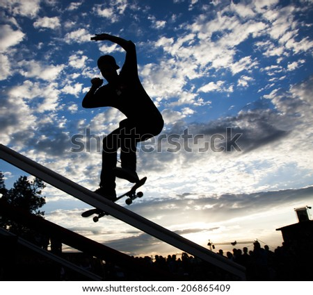 Silhouette of skateboarder #206865409