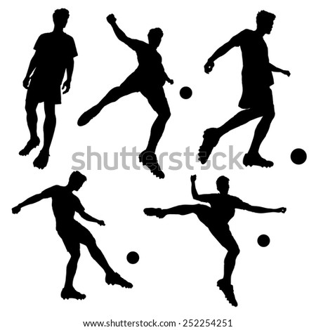 silhouette of Soccer football player man striking the ball isolated on white background