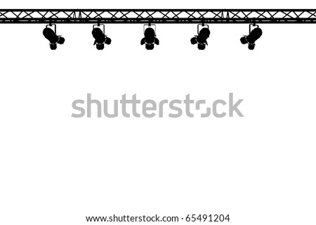 silhouette of stage lighting on white background