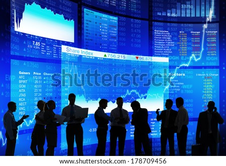 Silhouette of Stock Market Discussion  #178709456