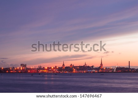 silhouette of tallinn with fire sea sunset