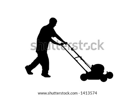 Silhouette of teenage young man mowing the lawn.  Includes clipping path. - stock photo