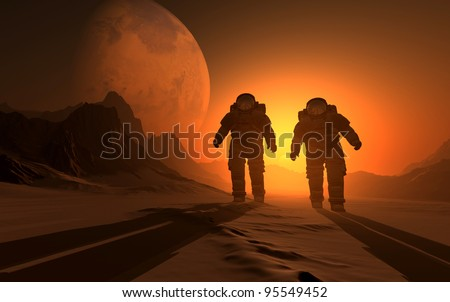silhouette of the astronauts on the background of the sunset.