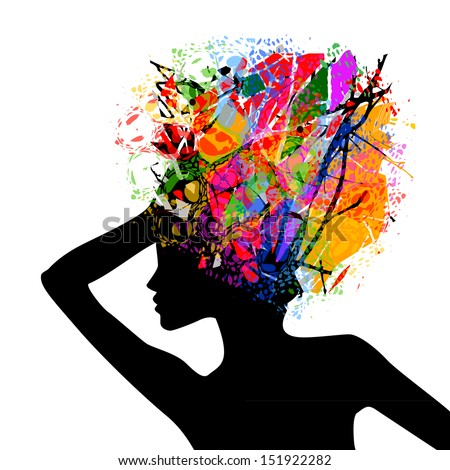 Silhouette of the beautiful girl with a color hairdress. Raster