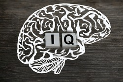 silhouette of the brain, word IQ, intelligence quotient on wooden background, quantitative indicator expressing success, concept of concept of level of mind, intellectual achievements