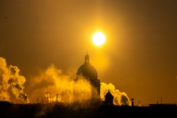 Silhouette of the cathedral in the setting sun