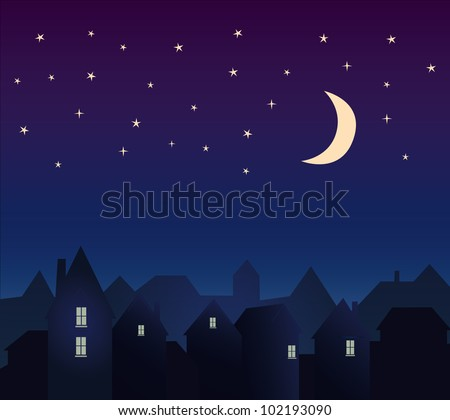 Silhouette of the city and night sky with stars and moon.