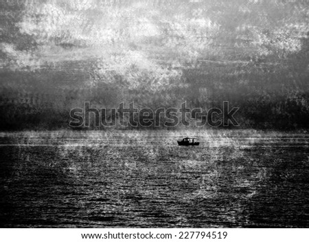 Silhouette of the fisherman boat sailing at dramatic sunset. Apocalyptic background. Escape and Survival ideas. Retro aged photo with scratches. Black and white.
