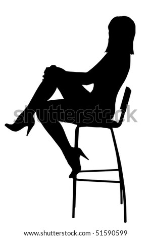 Silhouette of the sexual girl sitting on a high bar chair. Isolated on white background