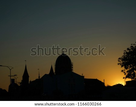 Silhouette of the star of David in the synagogue at sunset. #1166030266