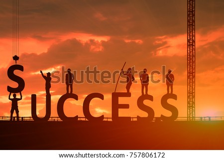 Silhouette of the success of the construction worker, the concept of success of the work is tired than to accomplish it, which has been difficult. #757806172