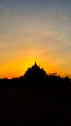 silhouette of the temple with a very beautiful sunrise background in the morning