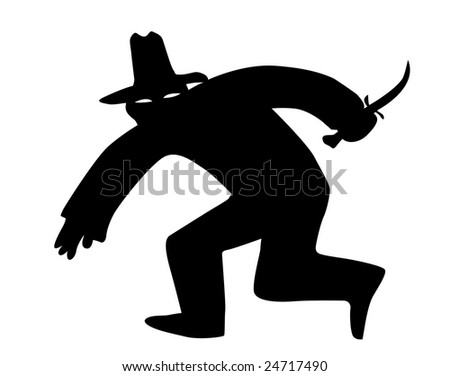 silhouette of the thief in mask on white background
