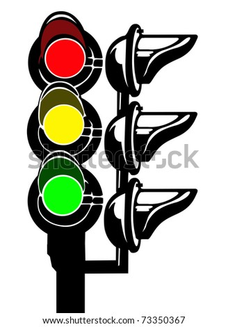 silhouette of the traffic light on white background